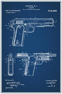 1911 Handgun Browning Official Patent Blueprint Poster 24x36