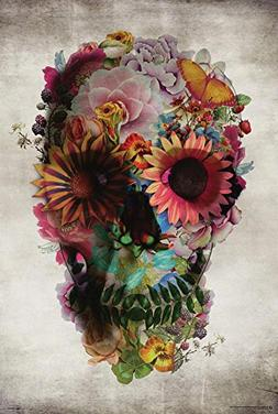 Poster Service Flower Skull Poster, 24-Inch by 36-Inch