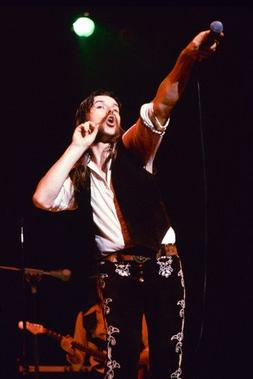Bob Seger 24x36 Poster iconic pose holding microphone to aud