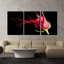 wall26 - 3 Piece Canvas Wall Art - Red Rose with Red Splashe