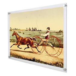 NIUBEE 24x36 Acrylic Wall Mount Poster Frame, Clear Floating