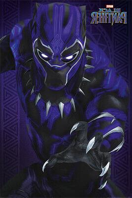 black panther marvel movie poster print glow