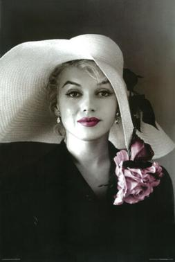Marilyn Monroe in Sun Hat with Pink Flowers & Lipstick Photo