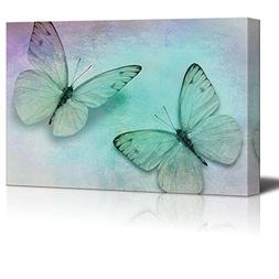 wall26 Two Butterflies on a Canvas with Soft Shades of Blue,