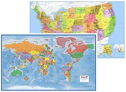 24x36 World and USA Classic Premier 3D Two Wall Map Set
